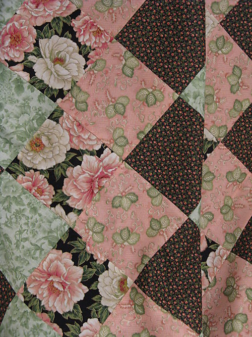 Pink and lime green quilt closeup