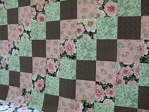 Pink and lime green quilt