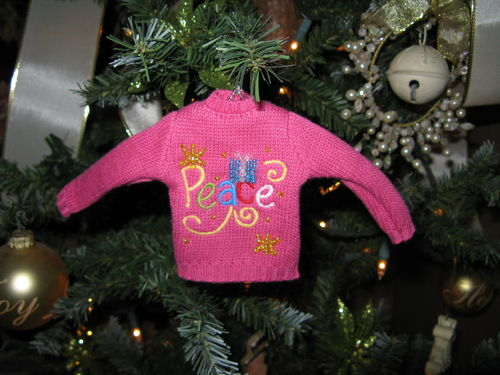 Pink Sweater Christmas Ornament