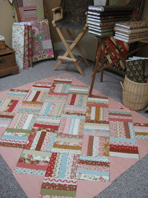 Field of Flowers quilt layed out