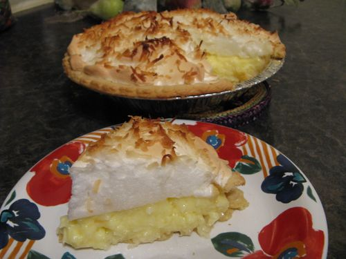 A slice of Coconut Cream Pie