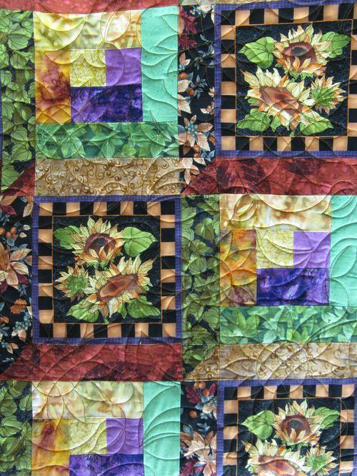 Closeup of Blossom's Sunflower Quilt