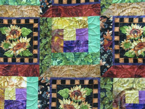 Quilted with a Sunflower Pattern