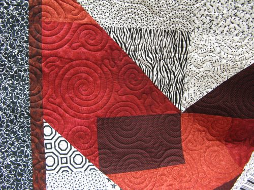 Black and White Quilt closeup quilting