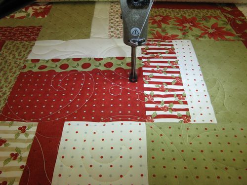 Quilting my 2009 Christmas Quilt